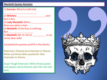 Macbeth Revision: Learning Quotes