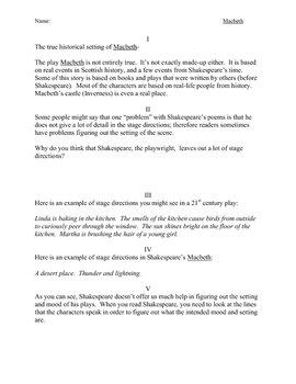 Macbeth Setting Creates Mood Historical Context Literary Devices