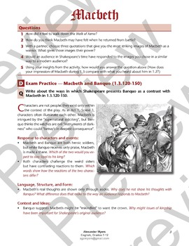 Macbeth (Shakespeare) - Act 1, Scenes 2-3 - The Prophecy (Worksheet + ANSWERS)