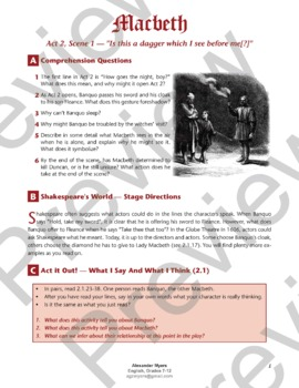 Macbeth (Shakespeare) Storyboard a Soliloquy Activity: Act 2, Scene 1