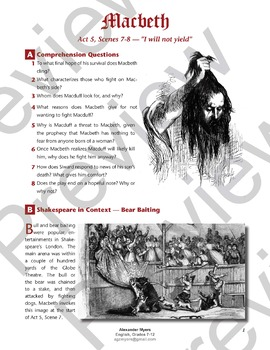 Macbeth (Shakespeare) for IGCSE/ IB - Act 5, Scenes 7-8: + ANSWERS
