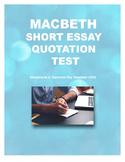 Macbeth Quotation Test with Key - Short Essay