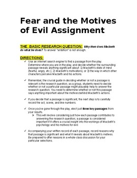 Macbeth Short Research Assignment Motives of Evil