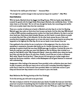 Macbeth/Student Hand Reflection Synthesis Essay