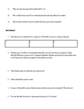 Macbeth Study Guide Act 4 (scenes 1-3)