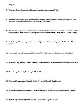 Macbeth Study Guide Packet