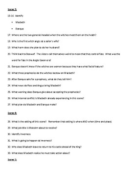 Macbeth Study Questions Short Answer All Acts and Scenes