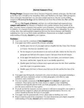 Macbeth Summative Assessments - Essay and Exam