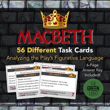Macbeth Task Cards: Figurative Language Analysis, Quizzes ...