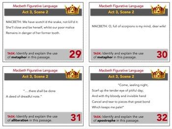 Macbeth Task Cards: Figurative Language Analysis, Quizzes, Worksheet, Activity