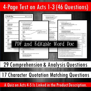 Macbeth Test Acts 1-3 (for No Fear Shakespeare)