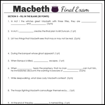 Macbeth Test and Answer Key as an End of Unit Final Exam