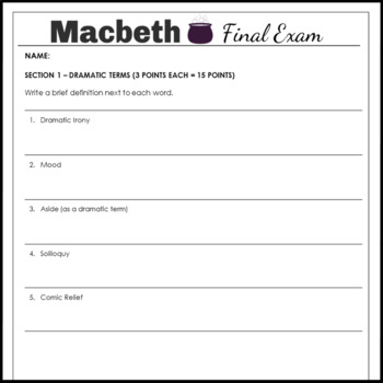 Macbeth Test and Answer Key