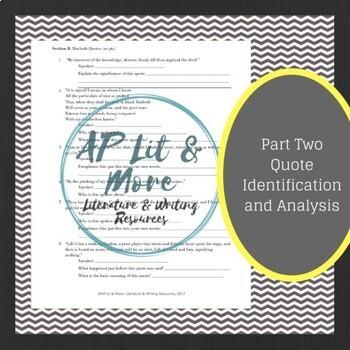 Macbeth Test & Answer Key - Short Answer, Quote Analysis & Short Essay