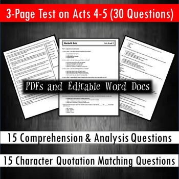 Macbeth Test Bundle (for No Fear Shakespeare)