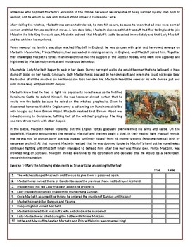 Macbeth - The Story - Reading Comprehension Worksheet