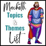 Macbeth- Topics & Themes List