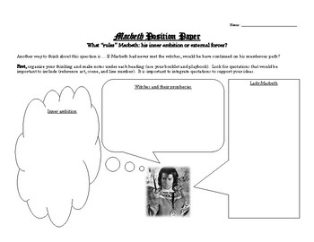 Macbeth: Two Essay Topics (+ planning sheets & grading criteria)