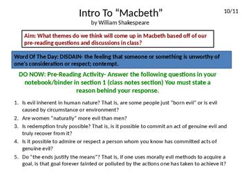 Macbeth Unit Power Point Presentation