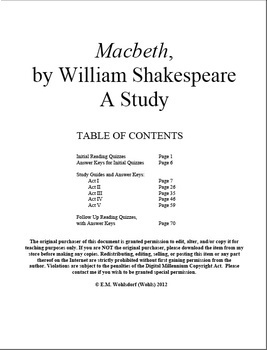 Macbeth Unit, Pre and Post Reading Quizzes, Study Guides, 80+ Pages, Answer Keys