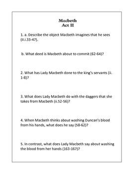 Macbeth Unit- Questions/Quizzes, Activity, Final Test