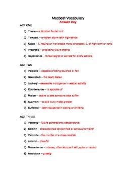 Macbeth Vocabulary Packet