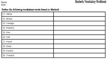Macbeth: Vocabulary Workbook
