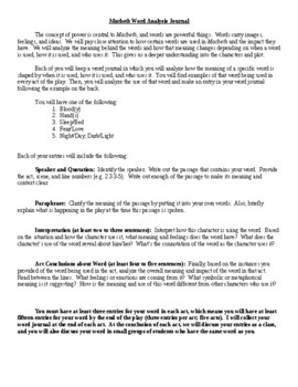 Macbeth - Word Analysis Journal (Study Guide) - CCSS Aligned
