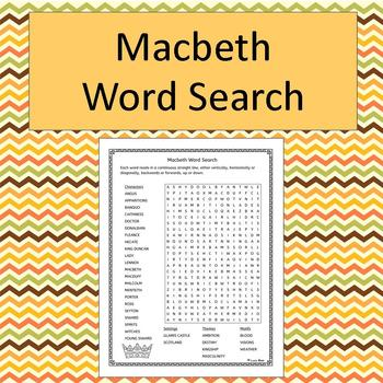 Macbeth Word Search - No Prep - black and white