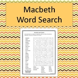 Macbeth Word Search - No Prep - black and white