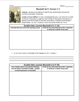 Macbeth Worksheets with Double-Entry Journals and Guiding Questions