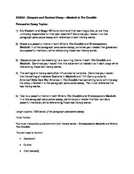 Macbeth and Crucible Essay Topics