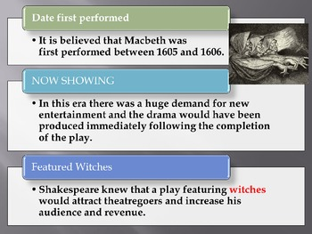 Macbeth  by Shakespeare- Background Information Power Point