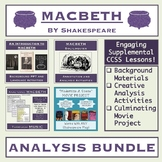 Macbeth Unit Bundle: Introduction Materials, Analysis Acti