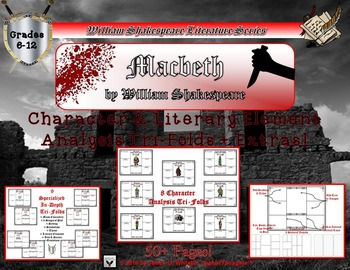 Macbeth by William Shakespeare Character and Literary Element Tri-Folds