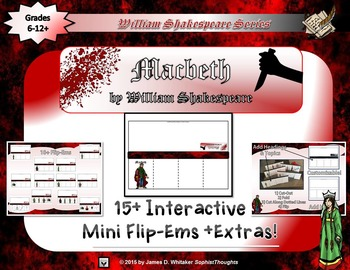 Macbeth by William Shakespeare Interactive Character Flip-Ems