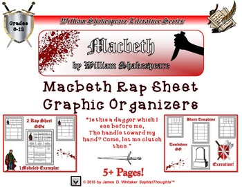 Macbeth by William Shakespeare Rap Sheet Graphic Organizer