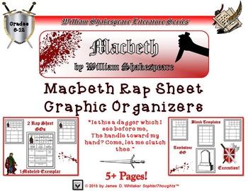 Macbeth by William Shakespeare Rap Sheet Graphic Organizer