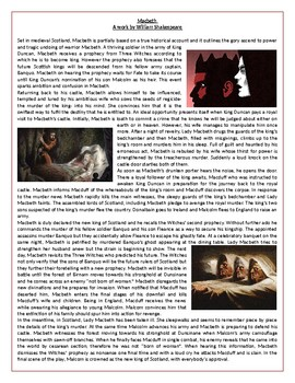 Macbeth by William Shakespeare - The Story - Reading - Vocabulary Worksheet
