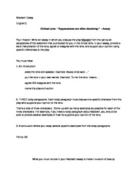macbeth essay teaching resources teachers pay teachers macbeth essay topic and sample macbeth essay topic and sample