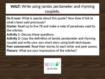 Macbeth - iambic pentameter and rhyming couplets in act 1 scene 3 (the witches)