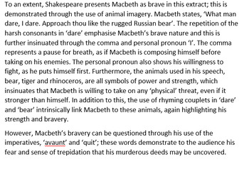 Macbeth Example Essay Response - End of Term / Semester Test