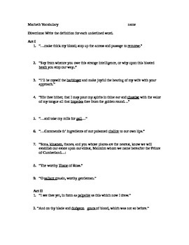 Macbeth vocabulary sheet