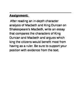 Macbeth vs. King Duncan Essay