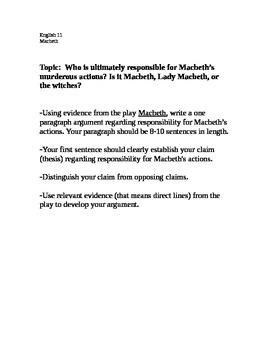 Macbeth writing activity