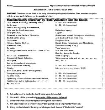 "Macedonia (""My Sharona"") Song Worksheet"