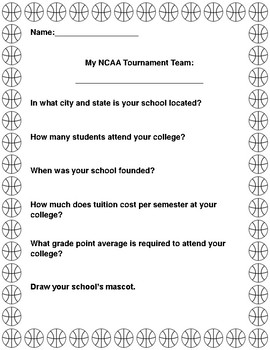 March Madness: Math and ELA NCAA Tournament Activities