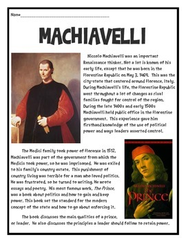 Machiavelli Reading Comprehension Worksheet, Government, Politics