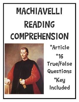 Machiavelli Reading Comprehension Worksheet, Government, Politics