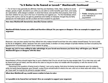 Machiavelli:Better to be Feared or Loved? Primary Source Analysis & Writing